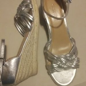 Talbots Shiny Silver strappy wedge sandals